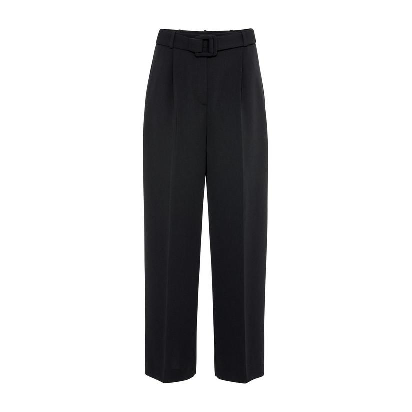 Artikel klicken und genauer betrachten! - Hallhuber High-Waist-Hose mit Bügelfalten für Damen Gr. 34 in schwarz | im Online Shop kaufen