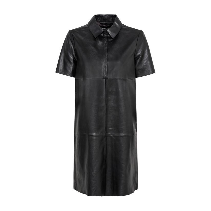 Artikel klicken und genauer betrachten! - Hallhuber Hemdkleid aus chromfrei gegerbtem Lammnappaleder für Damen Gr. 34 in schwarz | im Online Shop kaufen
