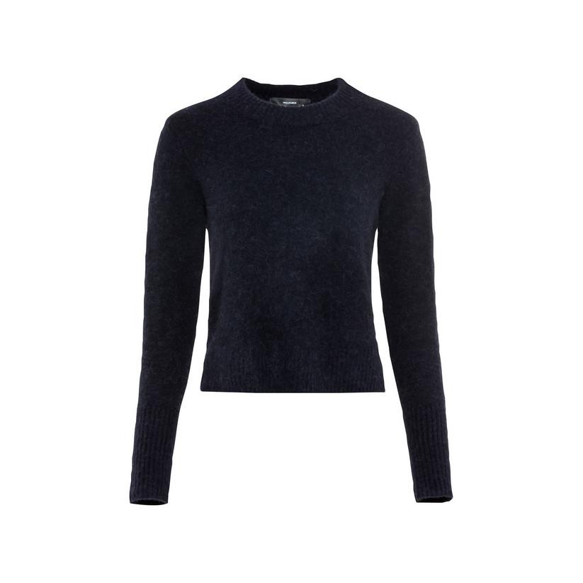 Artikel klicken und genauer betrachten! - Hallhuber Cropped Pullover mit Seitenschlitzen für Damen Gr. L in dunkelblau | im Online Shop kaufen
