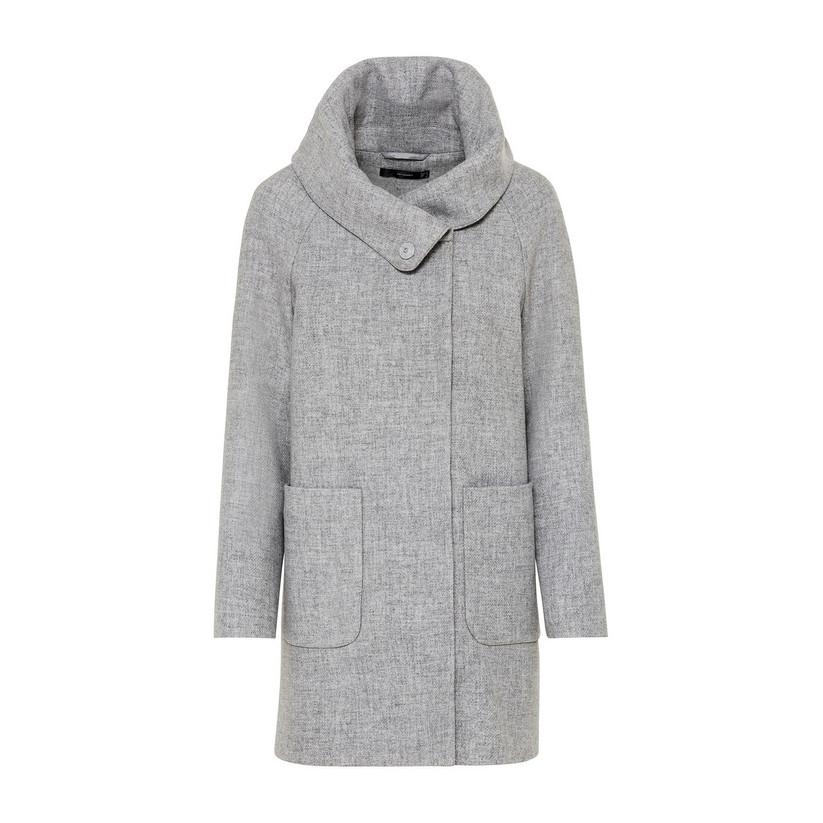 Artikel klicken und genauer betrachten! - Hallhuber Mantel aus recycelter Wolle für Damen Gr. 34 in hell silber-melange | im Online Shop kaufen