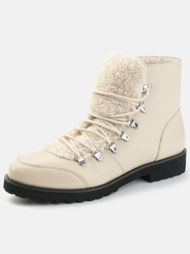 Hiking boots with faux fur in Beige